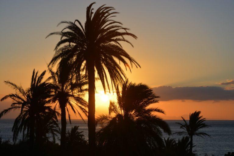 romantischer Sonnenaufgang in el Cabrito, la Gomera