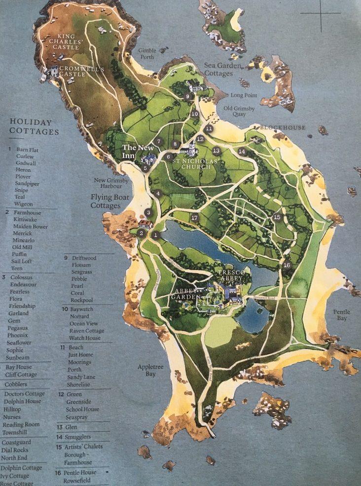 Karte der Insel Tresco, Isles of Scilly